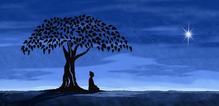 meditator-siting-under-a-tree-woman-blue-night-sky-with-star
